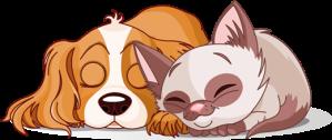 Pegatina infantil de vinilo perro y gato durmiendo